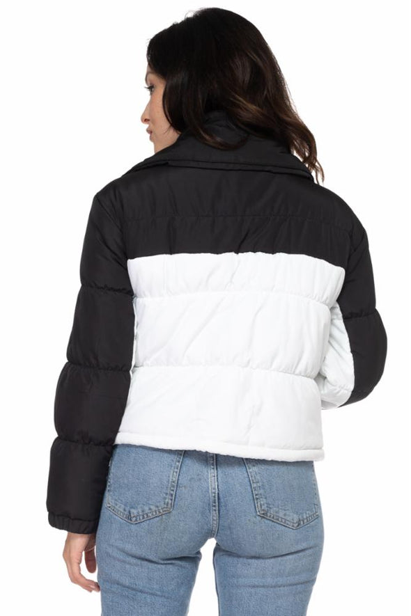 Contrast Panel Puffer Jacket