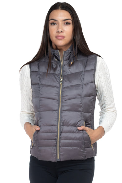Women's Puffer Vest With Belted Collar and Elastic Sides
