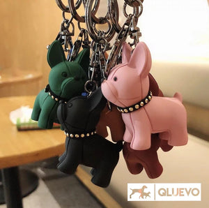 Miniature Frenchie Keychain & PU Leather Strap