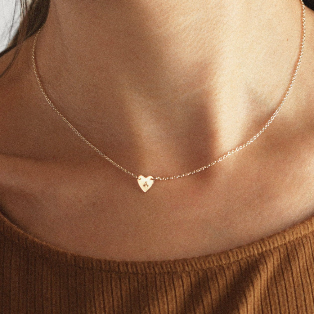 Eliza Heart Initial Necklace