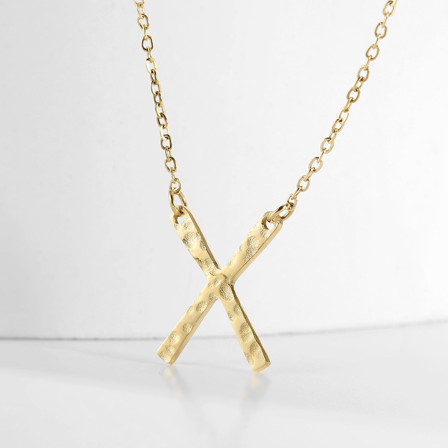Emory Hammered X Necklace