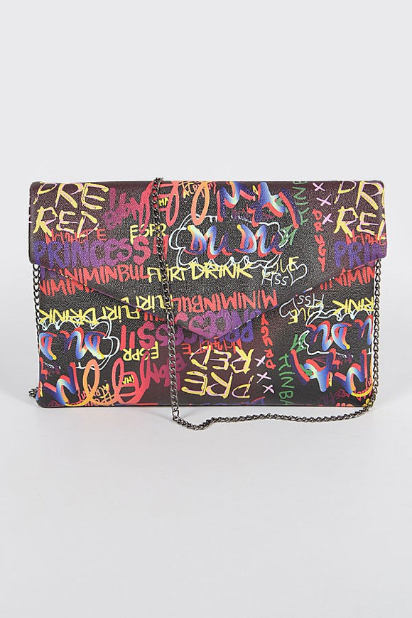 Graffiti Clutch- Black
