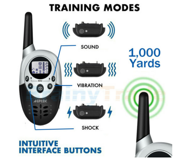 1000 Yards Dog Shock Training Collar Remote Waterproof f Large Med Small Dogs