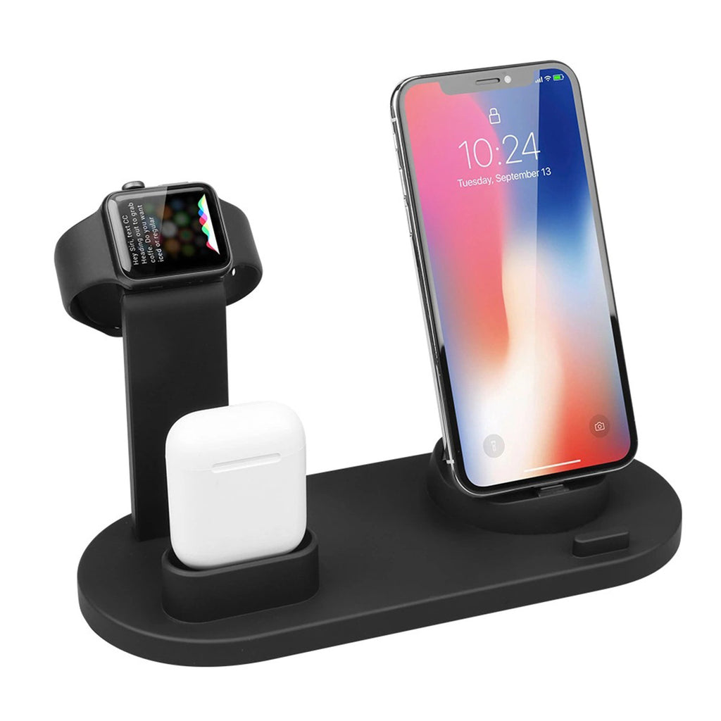 Bakeey 3 In 1 Qi Wireless Charger Dock Holder Mount for Apple Watch Airpods Phone