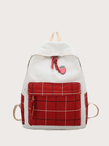 FREEJOY Plaid Pocket Zip Backpack