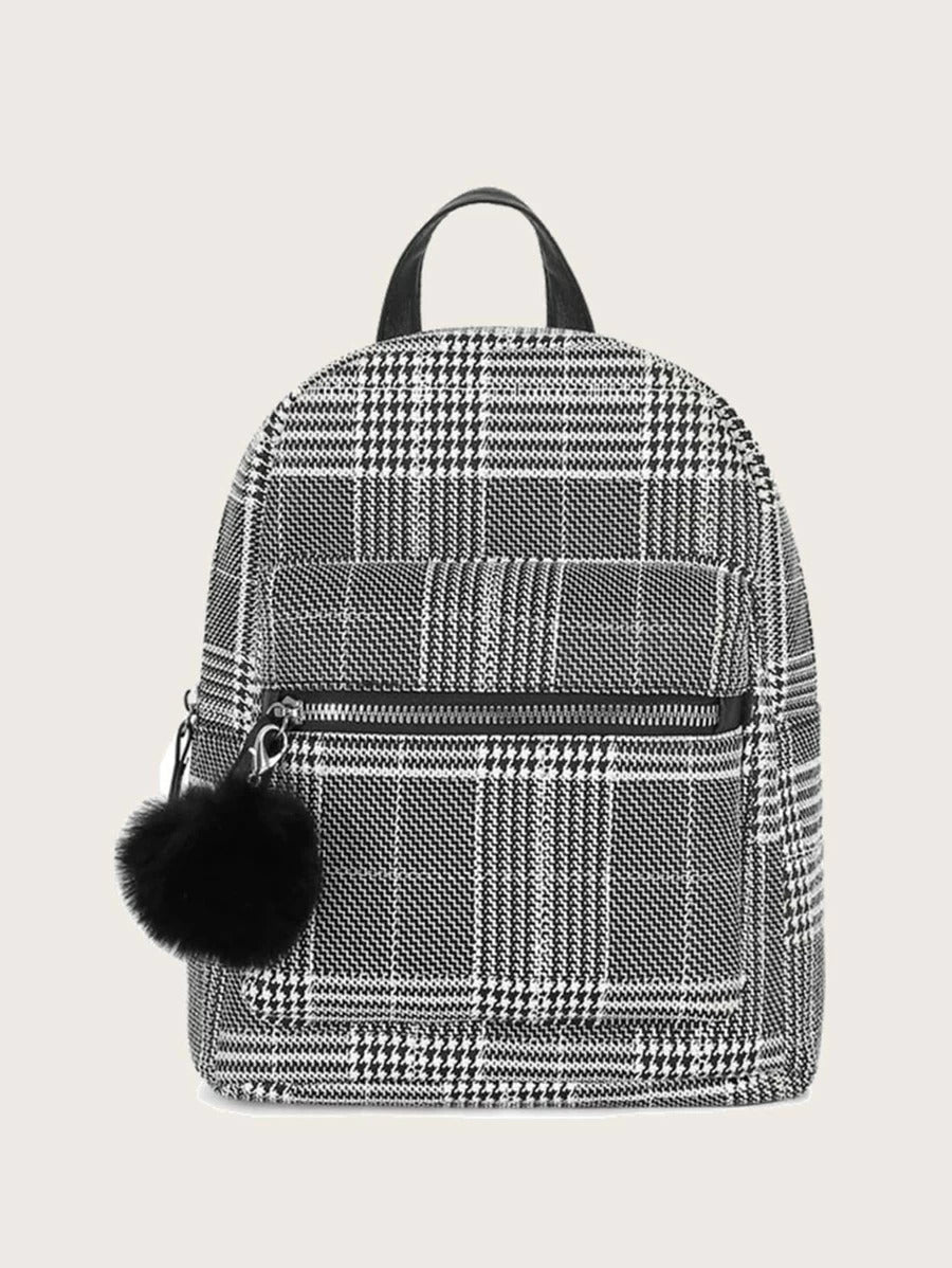 FREEJOY Houndstooth Pom Pom Backpack
