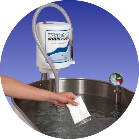person adding Hydrochlor antiseptic to Whitehall whirlpool