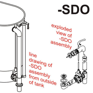 SDO Separate Drain & Overflow Assembly on Stationary Whirlpools