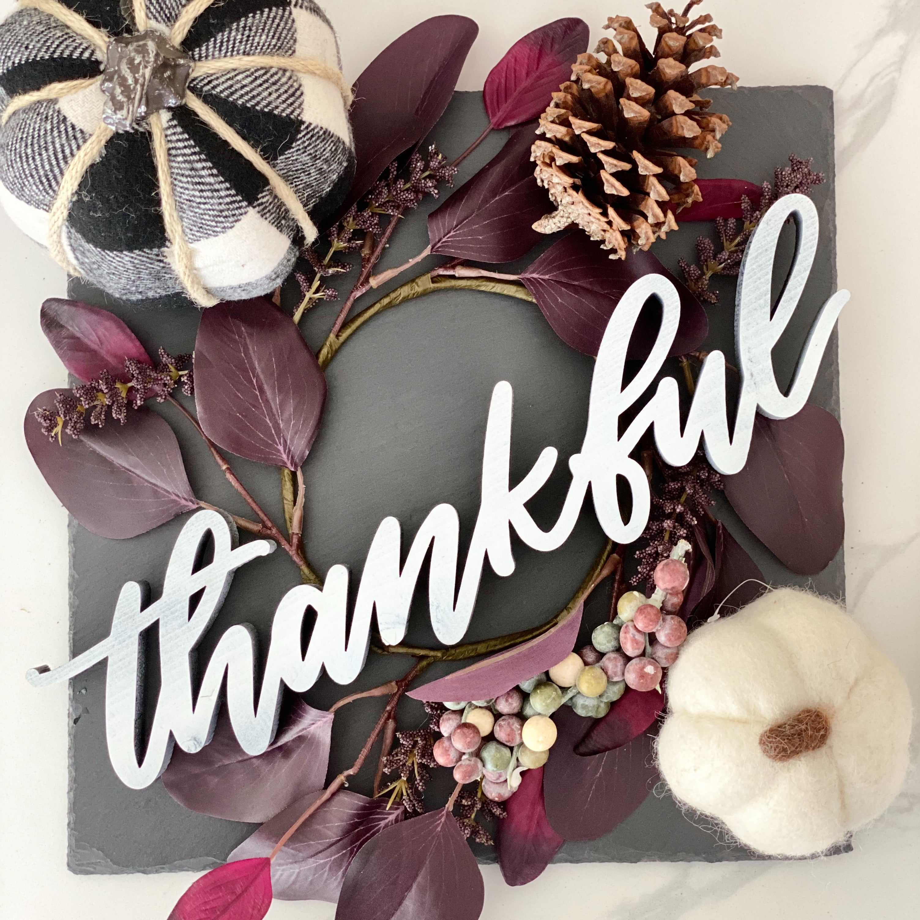 """Thankful"" Free Standing Wood Sign"