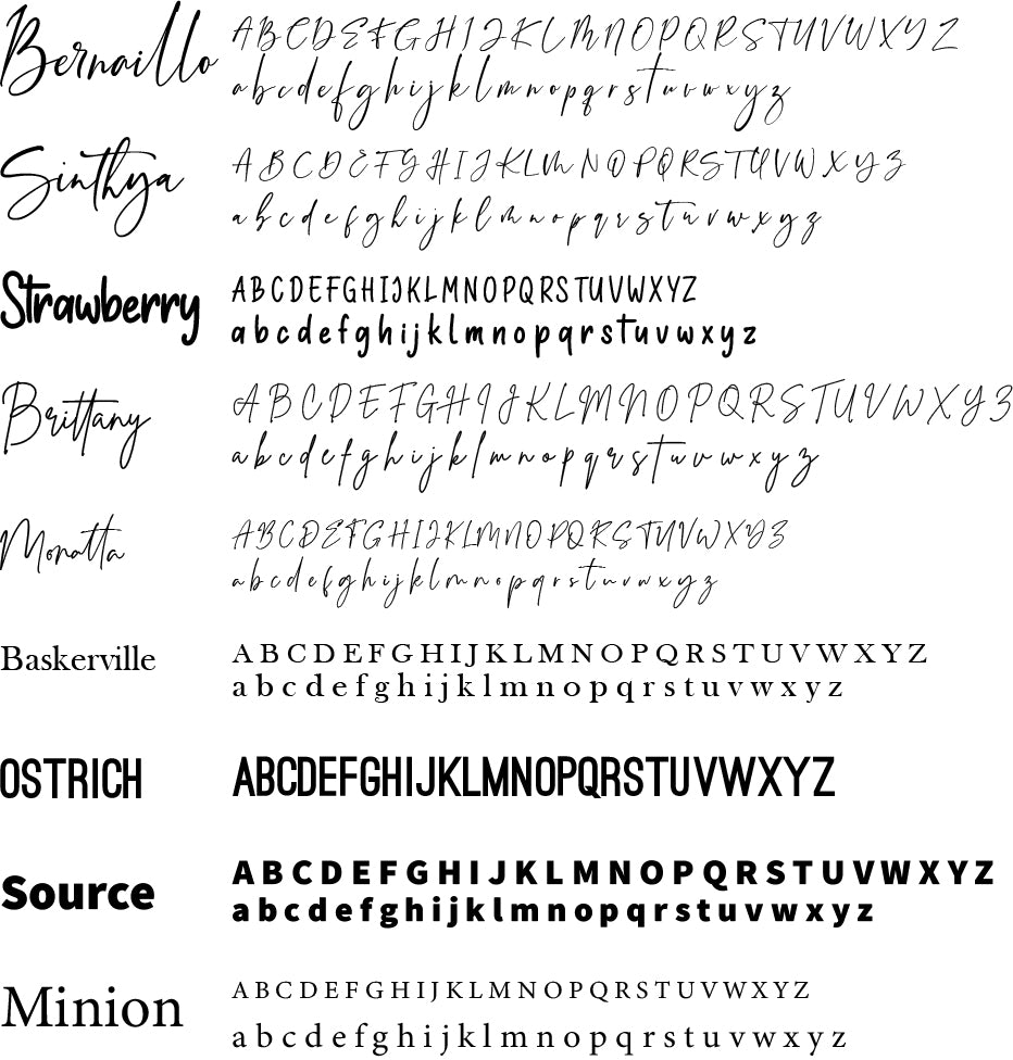 Computer font. Feel free to contact us if you  have a specific font you would like us to use.