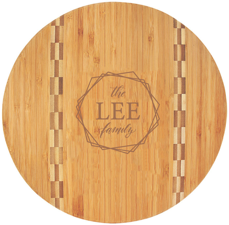 Bamboo Engraved Cutting Board Circle with Inlay
