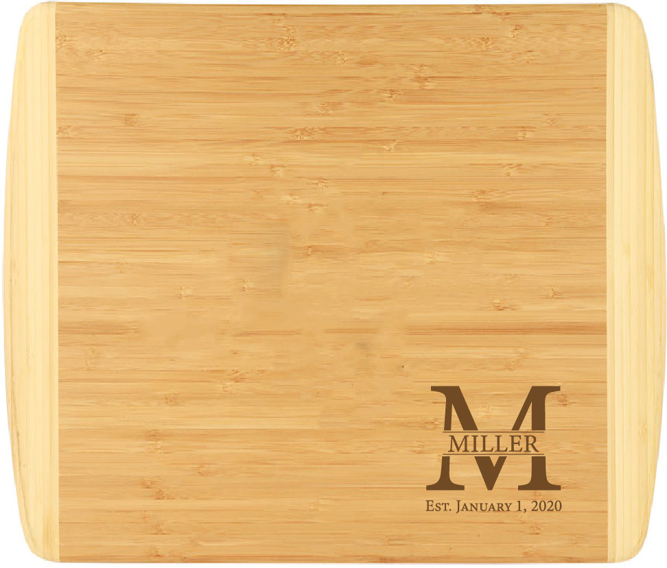 "Bamboo 2-Tone Cutting Board Engraved 13-1/2"" x 11-1/2"""