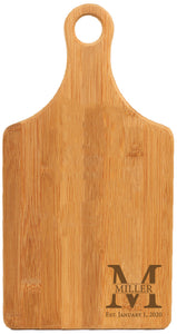 "Bamboo Paddle Shaped Cutting Board Engraved 13-1/2"" x 7"""