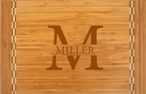 "Personalized Engraved Bamboo Cutting Board  with Inlay Design 18-1/4"" x 12"""