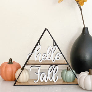 """Hello"" Free Standing Wood Sign"