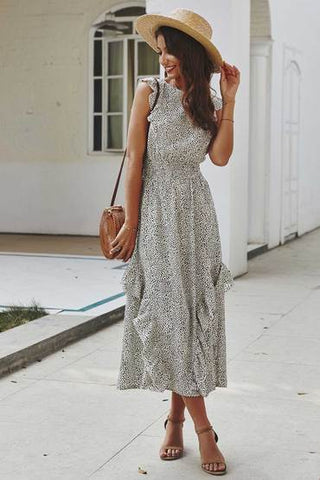 one piece dress, dotted pattern, summer outfit