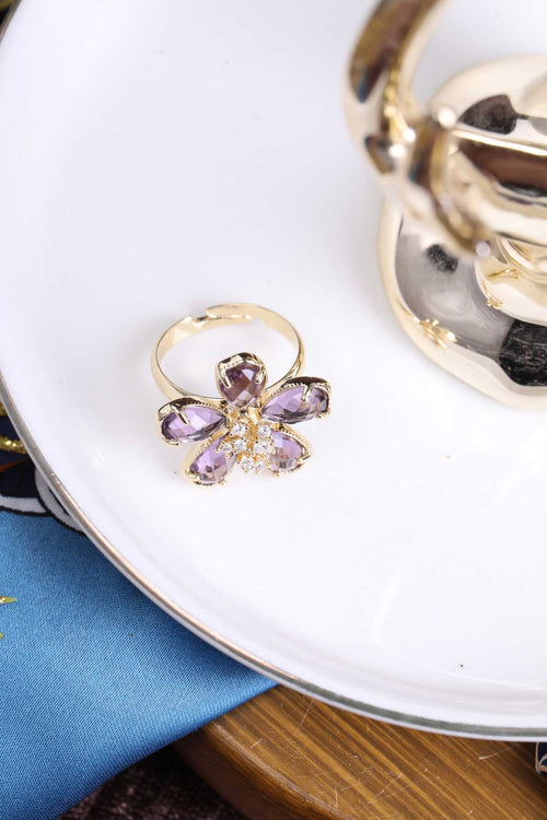 WearWhale 18K Gold Plated Gemstone Rings for Women Flower Band Adjustable Gold Rings