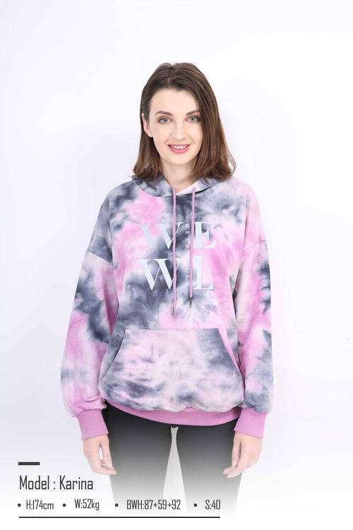 WearWhale Women Tie-dyed Long Style Long Sleeve Hoodies