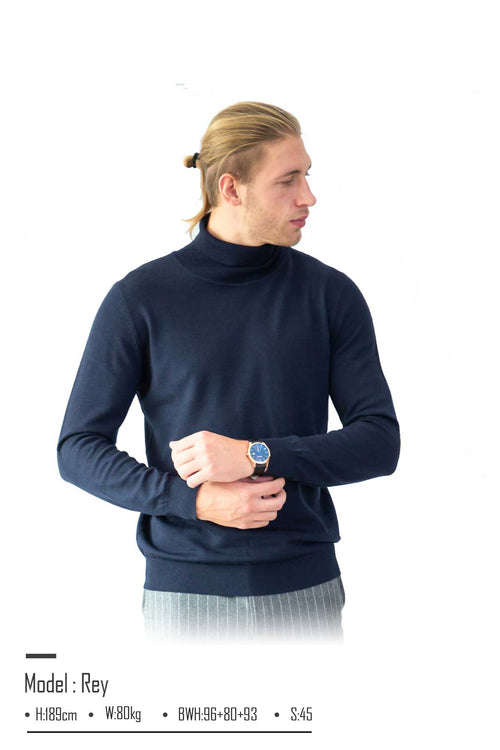 WearWhale  Men Lightweight Merino Wool Turtleneck Sweater