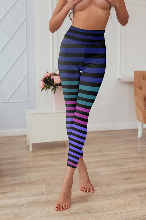 WearWhale Women's Yoga Pants Striped Contrast Color Tights Leggings Sports Pants