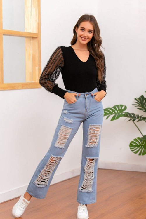 WearWhale Women's Cut Jeans With Hollowed-out Buttons