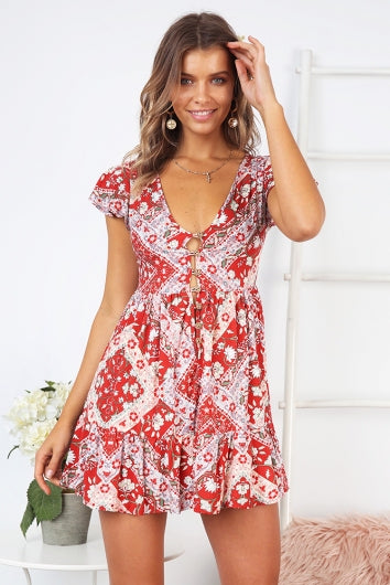WearWhale Women's Trending Fashion Spring/Summer  Printed Short-Sleeved Bohemian Dress