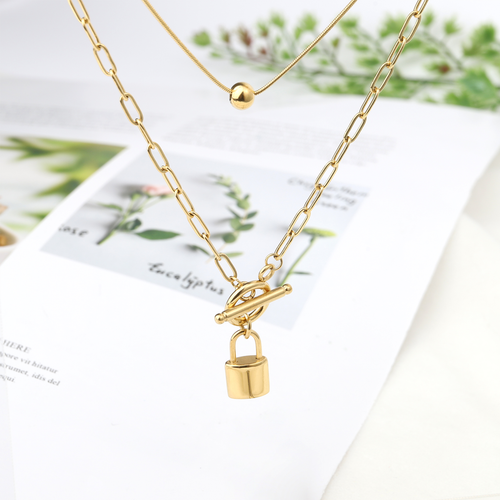 WearWhale 18K Gold Plated Necklaces for Women Paperclip Link Chain Lock Necklace Personalized Jewelry for Women