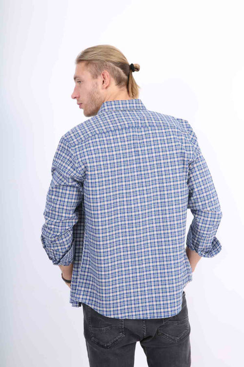 WearWhale Men's Long Sleeve Cotton Dark Medium Plaid Shirt