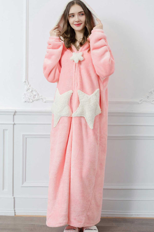 WearWhale Long Fleece Bathrobes for Men/Women with Special Star Pockets