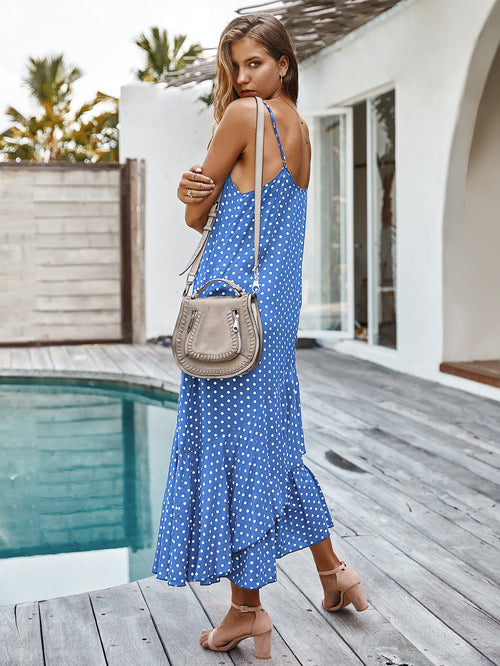 WearWhale Women Polka Dot Spring Summer Autumn Dress Hawaii Style Holiday Wear Bohemian Ruffled