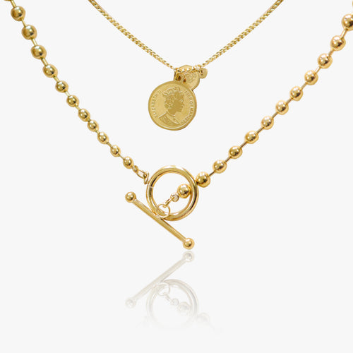 WearWhale 18K Gold Plated Necklaces for Women Chain Layered Necklace Vintage Coin Necklace Layered Paperclip Necklaces for Women Jewelry Gifts