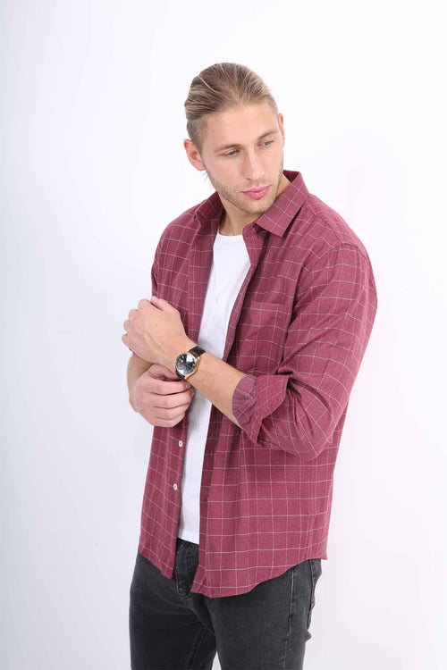 WearWhale Men's Long Sleeve Cotton Solid Plaid Shirt