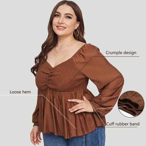WearWhale Plus Size Tops for Women V Neck Long Sleeve Plus Size Shirts with Ruffle Hem