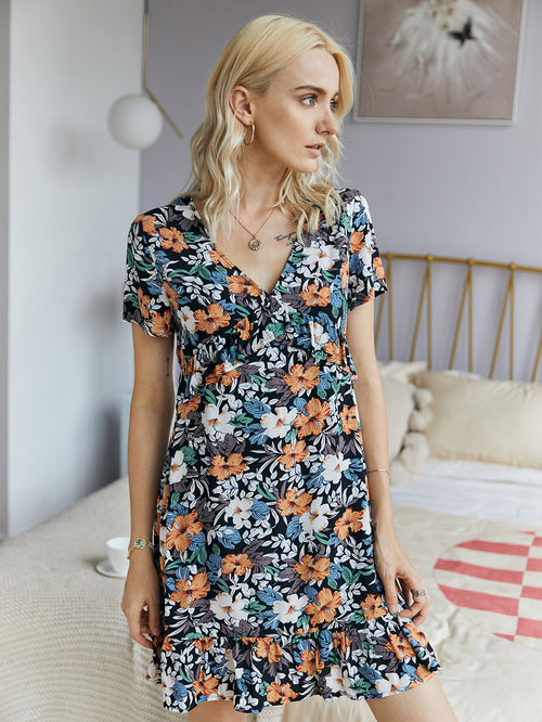 WearWhale Women's Summer Cotton V-Neck Hot Style Floral Print Mini Dress