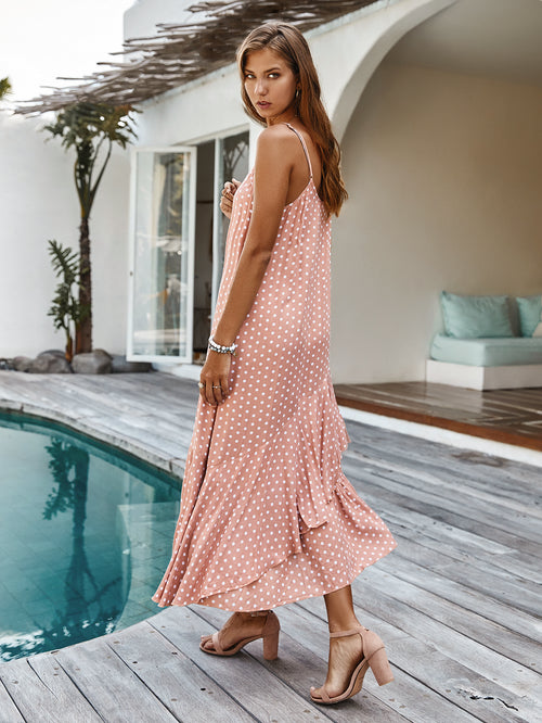 WearWhale Women's Spring Sling Polka Dot Dress Bohemian Ruffle Holiday Style