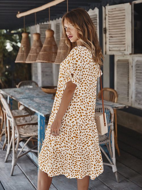 WearWhale Women Cotton Lotus Sleeve Dress All Season Casual Cute Polka Dot Mini Dress
