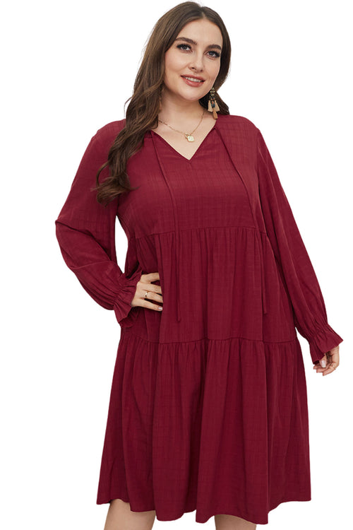 WearWhale Plus Size Dress for Women V Neck Long Dress with Long Lantern Sleeve Elastic Waist Swing Dresses