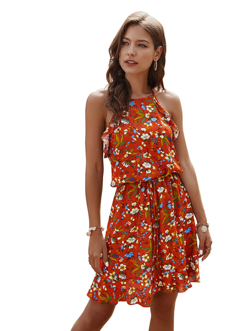 WearWhale Women's Fashion String Ruffled Casual Summer/Spring Printed Dress