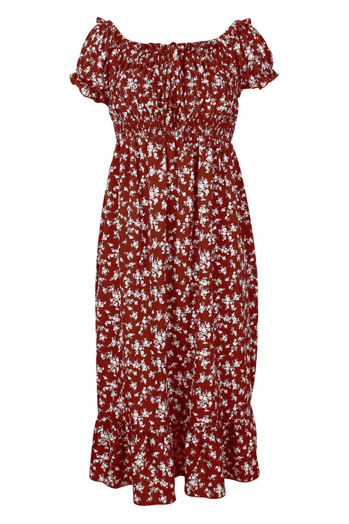 WearWhale Women's New Hot/Sexy  Bohemian Off Shoulder Floral Print Spring/Summer Dress