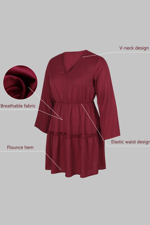 WearWhale Plus Size Dress for Women V Neck Midi Dress Long Lantern Sleeve Elastic Waist Swing Dresses