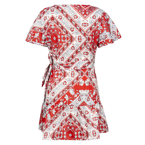 WearWhale Women Sexy Floral Dress All Season Year 2020 Fashion Short Sleeve Design