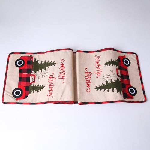 WearWhale Chrismas Table Runner Burlap Cotton Made with Chrismas Tree for Christmas Holiday Home Decoration
