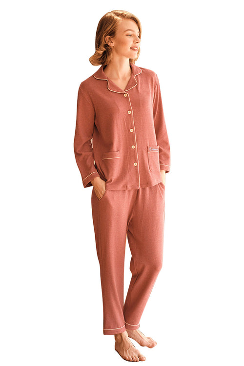 WearWhale Womens Pajamas Set Long Sleeve Sleepwear Button Down Cotton Made Nightwear PJS