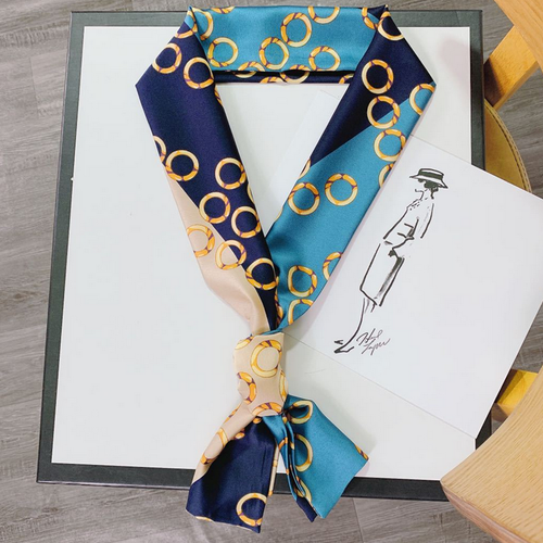 WearWhale Fashion Skinny Scarf for Women Silk Like Neckerchief Scarf Package Band Hair Head Decoration