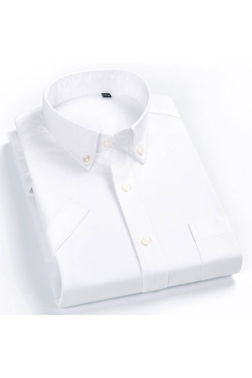 WearWhale Men's Short Sleeve Cotton Solid White / Gray Shirt