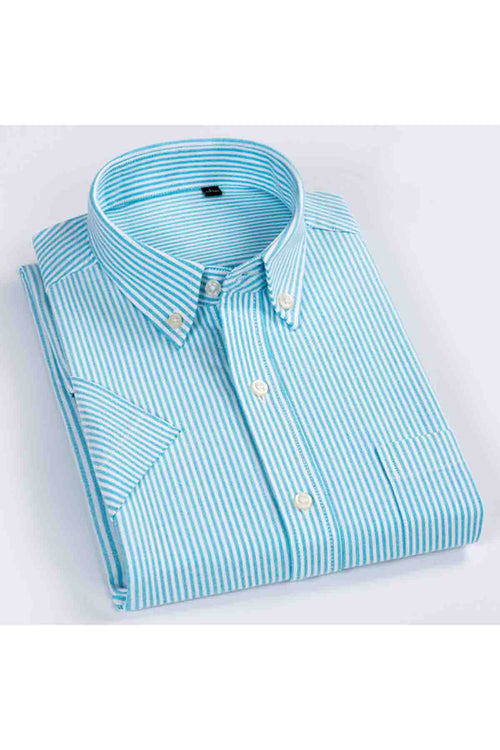 WearWhale Men's Short Sleeve Cotton Stripe Shirt