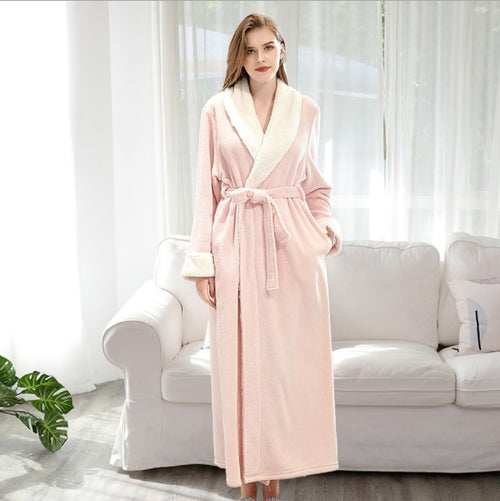 WearWhale Long Fleece Bathrobes for Women Lightweight Hooded Pajamas