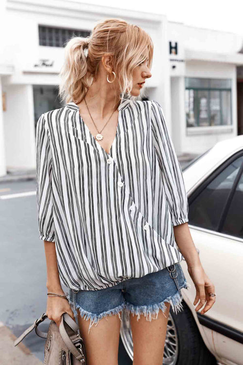WearWell Women V-neck Sexy Shirt Striped Three-quarter Sleeve Top