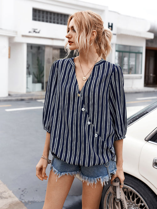 WearWhale Women V-neck Sexy Shirt Striped Three-quarter Sleeve Top
