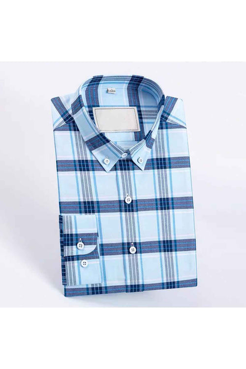 WearWhale Men's Long Sleeve Cotton Light Shirt Large Grid Shirt